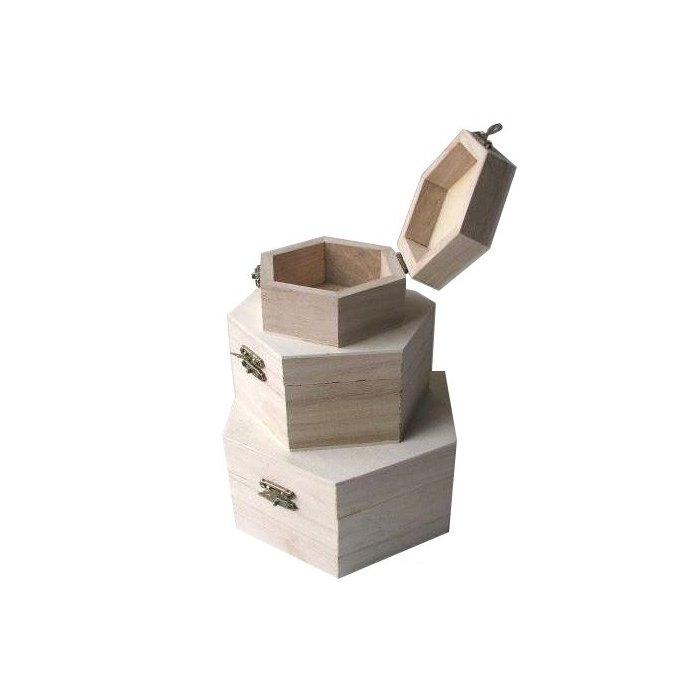 Set 3 cutii din lemn hexagonale 355093