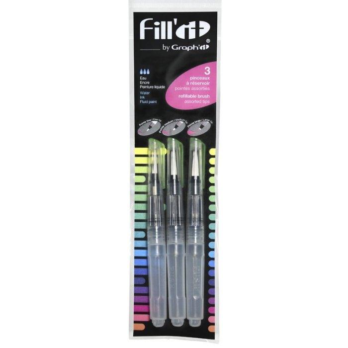 Set 3 pensule cu rezervor Fill'it 5 ml.