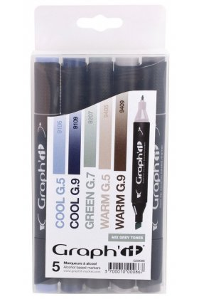 Set 5 carioci cu alcool Graph'it - Mix Greys