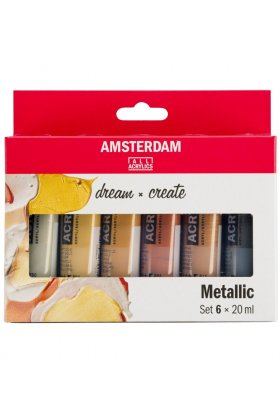 Set 6 culori acrilice Amsterdam 20 ml - Metallic Set