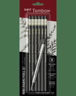 Set creioane Tombow MONO + radiera varf rotund