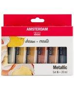 Set 6 culori acrilice Amsterdam 20 ml - Metallic Set