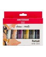 Set 6 culori acrilice Amsterdam 20 ml - Portrait Set