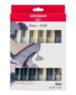Set 12 culori acrilice Amsterdam 20 ml - Greys