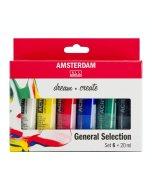 Set culori acrilice Amsterdam 20 ml x 6 General Selection