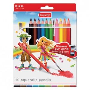 Set creioane colorate acuarelabile Bryunzeel Aquarelle 10