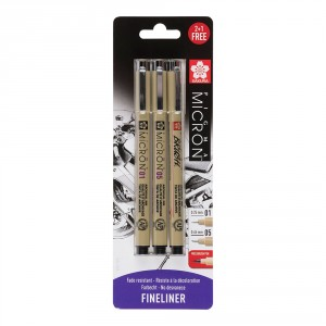 Set Sakura Micron 01/05 Black blister Pigma Brush gratis