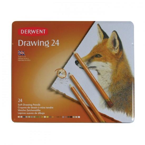 Set creioane Derwent Drawing - cutie metalica 24 creioane