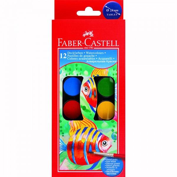 Set 12 acuarele Faber Castell plus pensula