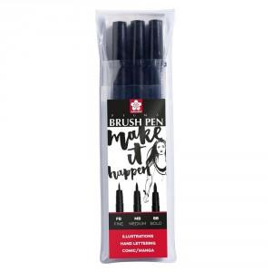 Set 3 markere Sakura Pigma Brush Black