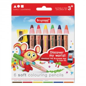 Set 6 creioane colorate Bruynzeel Soft Colouring Pencils