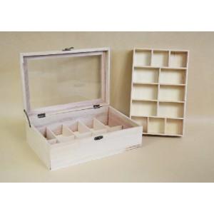 Cutie de lemn dublu compartimentata