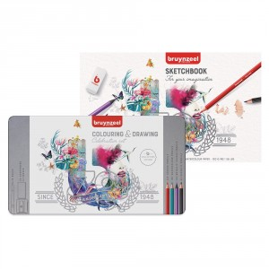 Set creioane colorate Celebration Tin + Paper Pad