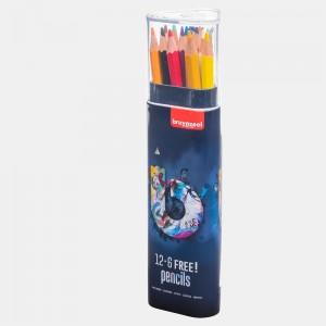 Set creioane colorate Bruynzeel 12+6 Dark