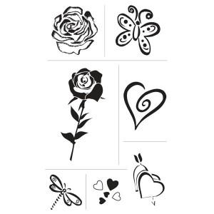 Set stampile decorative - inima si trandafir