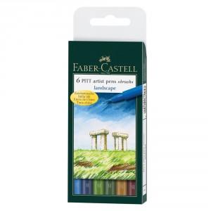 Set 6 linere brush Pitt Artist Faber Castell Landscape