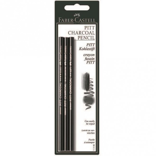 Set 3 creioane carbune Natural Pitt Monochrome