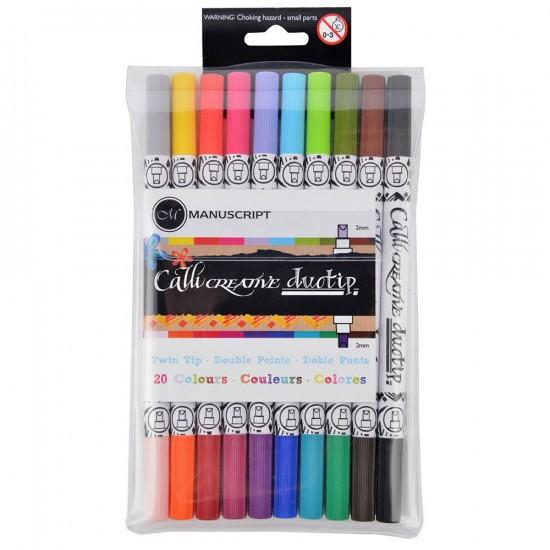 Set 10 markere caligrafie TwinColour Duotip