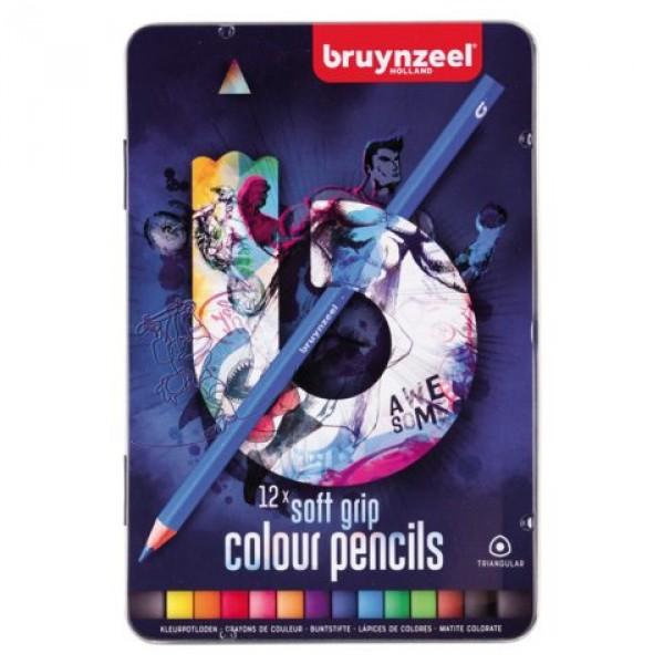 Set creioane colorate Bruynzeel Soft Grip 12