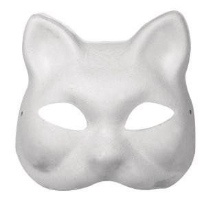 Masca papier mache alba - pisica