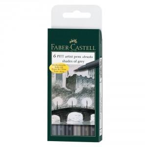 Set 6 linere brush Pitt Artist Faber Castell-gri
