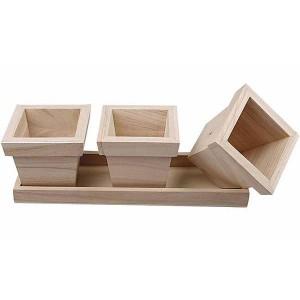 Set 3 ghivece din lemn 576260