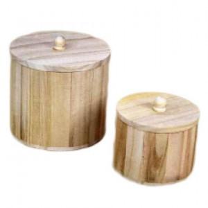 Set 2 cutii din lemn, cilindrice, cu capac