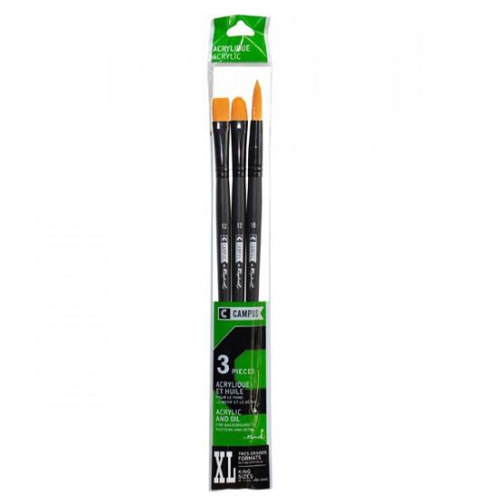 Set cu 3 pensule Campus Acryl XL
