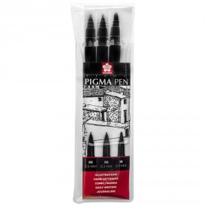 Set 3 markere Sakura Pigma Pen Black
