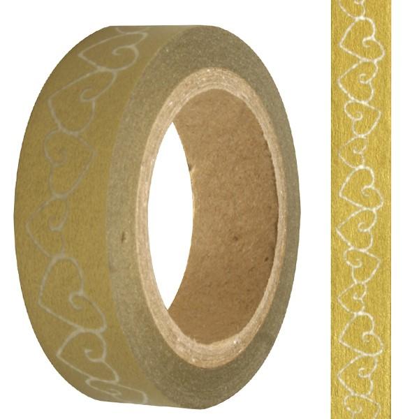 Hartie de orez adeziva Washi Tape - Inimi Aurii