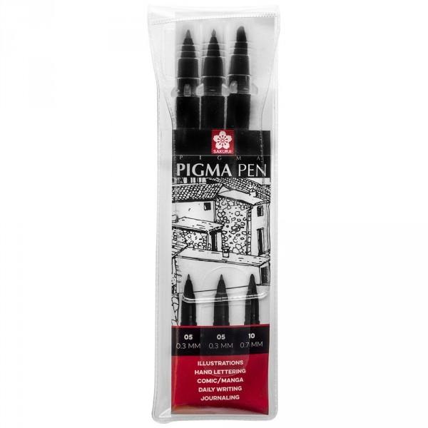 Set 3 markere Sakura Pigma Professional Pen Black