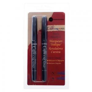 Set 2 markere caligrafie - negru