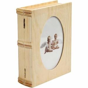 Cutie din lemn cu capac stil carte