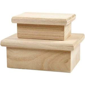Set 2 cutii din lemn cu capac 57680