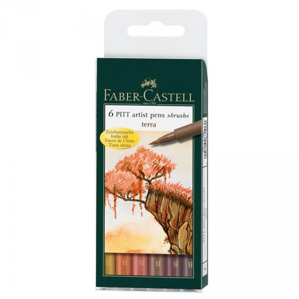 Set 6 linere brush Pitt Artist Faber Castell Terra
