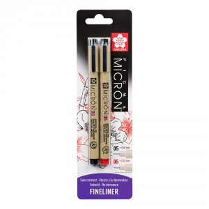Set Sakura Micron 05 Black/Red Blister
