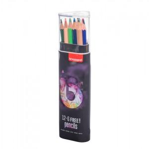 Set creioane colorate Bruynzeel 12+6 Light