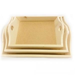 Set 3 tavi din lemn cu manere