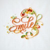 decoratiune perete smile tehnica quilling